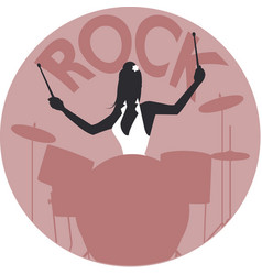 Musical style rock silhouette of girl playing vector