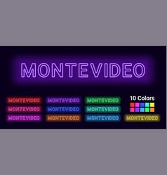 Neon name of montevideo city vector