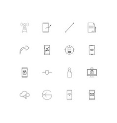 Network and database simple linear icons set vector