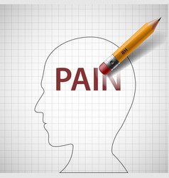 pencil erases in the human head the word pain vector image