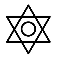 Pentagram line icon six pointed star vector