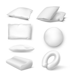pillows in white color assortment realistic vector image