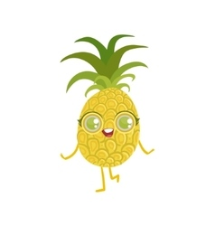 Pineapple Girly Cartoon Character vector