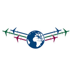 Planes with globe vector