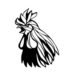 Rooster head outline vector