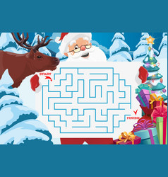Santa claus with maze or labyrinth game template vector