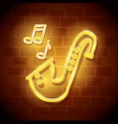 Saxophone instrument neon label vector