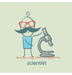 Scientist with a microscope vector