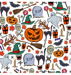 seamless pattern of halloween icons vector image