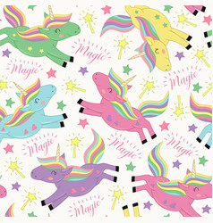 Seamless pattern with magic flying unicorn vector
