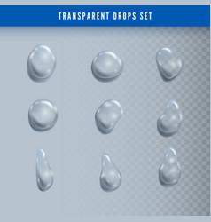 set drops liquid clear droplet dew on glass vector image