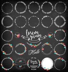 Set of vintage floral badges and labels vector