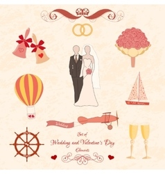 Set of Wedding and Valentines Day elements vector image