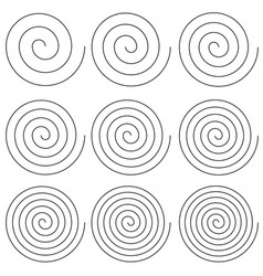 set spirals with different number turns of vector image