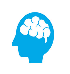 Silhouette side man with anatomy brain vector