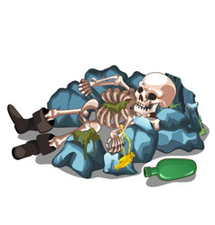 Skeletal corpse of a man lying on the stones vector