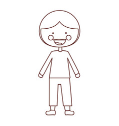 Sketch contour smile expression cartoon guy with vector