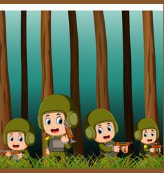 soldiers in battlefield vector image