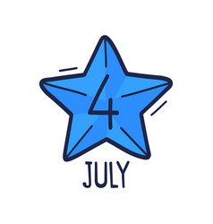 star with number 4 is hand-drawn in vector image