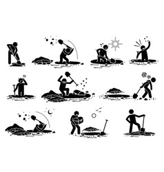 Stick figure man digging hole a stickman dig vector
