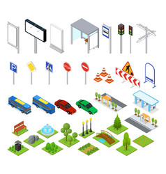street and park objects set isometric view vector image