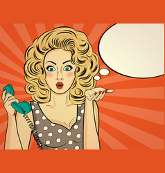 Surprised pop art woman chatting on retro phone vector