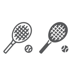 tennis line and glyph icon game and sport racket vector image