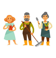 Three people with tools for working in garden vector