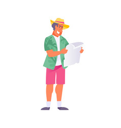 tourist with map vector image