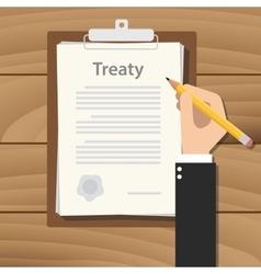 Treaty concept agreement with hand hold pencil vector