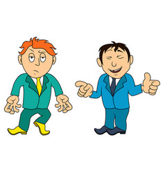 Two cartoon amusing men in various situations vector