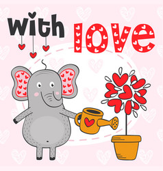 valentine elephant and tree out of hearts vector image