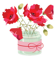 Vase with a red flowers poppies vector