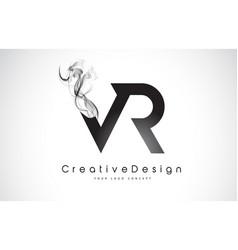 Vr letter logo design with black smoke vector