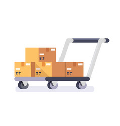 warehouse cart cart with delivery boxes vector image