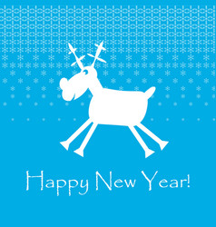 white cristmas funny deer with snowflakes new vector image
