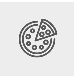 Whole pizza with slice thin line icon vector image