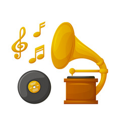wooden gramophone plate and golden music vector image