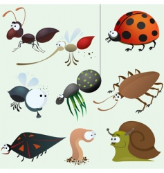 cartoon insect set vector image vector image