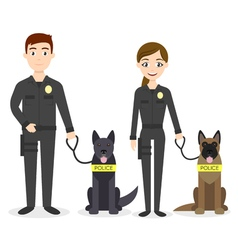 characters two young police officers man and woman vector image vector image