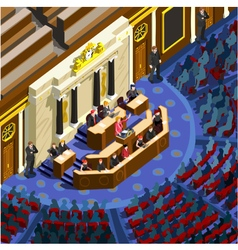 Election Infographic Congress Hall Isometric vector image