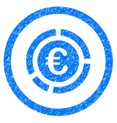 euro financial diagram rounded icon rubber stamp vector image vector image