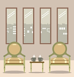 Flat Design Empty Chairs With Hot Coffee Cup On vector image vector image
