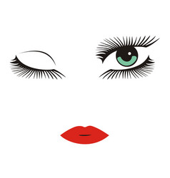 green eyes with long lashes winking red lips vector image vector image