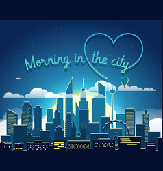 Modern cityscape in the morning morning in big vector