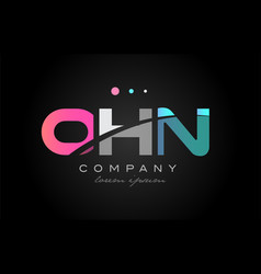 ohn o h n three letter logo icon design vector image