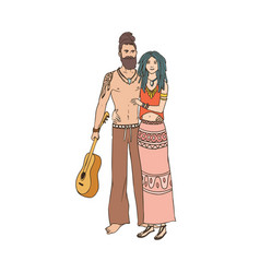 pair of young hippies with dreadlocks man and vector image vector image