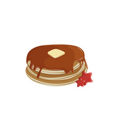 pancakes with cream and syrup vector image
