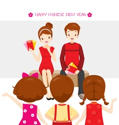 Parent Giving Red Envelopes To Children vector image vector image