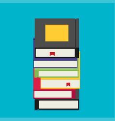 set of books in flat design style vector image